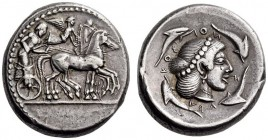 SICILY, Syracuse. Circa 474-470 BC. Tetradrachm (Silver, 25mm, 17.48 g 5). Male charioteer, wearing a long chiton and holding a goad in his right hand...