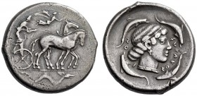 SICILY, Syracuse. Circa 450 BC. Tetradrachm (Silver, 27mm, 16.89 g 10). Charioteer. wearing long chiton, holding goad in his right hand and the reins ...