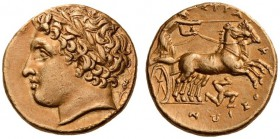 SICILY, Syracuse. Agathokles, 317-289 BC. Dekadrachm (Gold, 15mm, 4.31 g 10), c. 317-310. Laureate head of Apollo to right; behind, ear of barley. Rev...