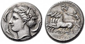 SICILY, Syracuse. Agathokles, 317-289 BC. Tetradrachm (Silver, 24mm, 17.19 g 10), c. 310-305. Head of Arethusa left, wearing wreath of grain ears, tri...