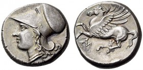 SICILY, Syracuse. Agathokles, 317-289 BC. Stater (Silver, 18mm, 6.87 g 5), c. 300. Head of Athena to left, wearing Corinthian helmet. Rev. Pegasus fly...