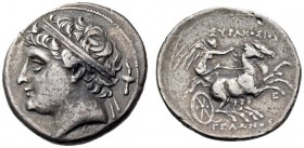 SICILY, Syracuse. Gelon, son of Hieron II, 275-215 BC. 8 Litrai (Silver, 22mm, 7.00 g 2), c. 240. Diademed head of Gelon to left; behind, race torch. ...