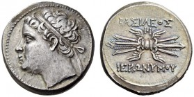 SICILY, Syracuse. Hieronymos, 215-214 BC. 10 litrai (Silver, 21mm, 8.45 g 7). Diademed head of Hieronymos to left. Rev. BAΣIΛEΩΣ - IEPΩNYMOY Winged th...