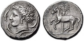 CARTHAGE, Unlocated Punic mint. Circa 320/315-305/300 BC. Tetra­drachm (Silver, 25mm, 17.34 g 10), Lilybaion or Entella (?). Head of Tanit-Persephone ...