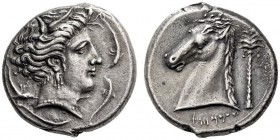 CARTHAGE, Unlocated Punic mint. Circa 320/315-305/300 BC. Tetradrachm (Silver, 25mm, 17.09 g 1), Lilybaion or Entella (?). Head of Tanit-Persephone to...