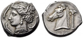 CARTHAGE, Unlocated Punic mint. Circa 320/315-305/300 BC. Tetradrachm (Silver, 25mm, 17.01 g 2), Lilybaion or Entella (?). Head of Tanit-Persephone to...