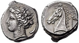 CARTHAGE, Unlocated Punic mint. Circa 320/315-305/300 BC. Tetradrachm (Silver, 24mm, 17.08 g 6), Lilybaion or Entella (?). Head of Tanit-Persephone to...