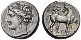 CARTHAGE. Circa 300 BC. Shekel (Silver, 18mm, 7.60 g 12). Head of Tanit to left, wearing wreath of grain ears, pendant earring and pearl necklace. Rev...