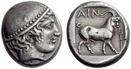 THRACE, Ainos. Circa 412/1-410/09 BC. Tetradrachm (Silver, 22mm, 16.65 g 7). Head of Hermes to right, wearing close-fitting petasos with knob at the t...