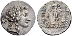 THRACE, Maroneia. Circa 189/8-49/5 BC. Tetradrachm (Silver, 30mm, 15.79 g 12). Head of youthful Dionysos to right, wearing ivy wreath. Rev. ΔΙΟΝΥΣΟΥ /...