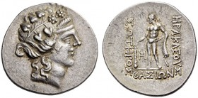 ISLANDS off THRACE, Thasos. Circa 148-90/80 BC. Tetradrachm (Silver, 32mm, 16.97 g 11), apparently an early imitation. Head of a youthful Dionysos to ...