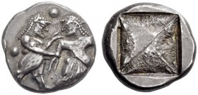 THRACO-MACEDONIAN REGION, Berge (previously Lete or Siris). Circa 525-480 BC. Stater (Silver, 19mm, 9.89 g). Satyr standing right, grasping the right ...