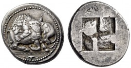 MACEDON, Akanthos. Circa 500-480 BC. Tetradrachm (Silver, 25mm, 16.98 g). Lion to left, attacking bull kneeling to right, head lifted and turned back ...