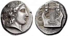 MACEDON, Chalkidian League. Circa 432-348 BC. Tetradrachm (Silver, 22mm, 14.50 g 11), Group J, c. 398-395. Laureate head of Apollo to right, his hair ...