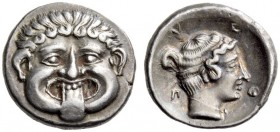 MACEDON, Neapolis. Circa 424-350 BC. Hemidrachm (Silver, 13mm, 1.91 g 5). Gorgoneion facing with protruding tongue. Rev. Ν-Ε / Ο-Π Head of the nymph o...