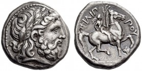 KINGS of MACEDON, Philip II, 359-336 BC. Tetradrachm (Silver, 23mm, 14.50 g 2), Amphipolis, 348/7-343/2. Laureate head of Zeus to right. Rev. ΦΙΛΙΠ - ...
