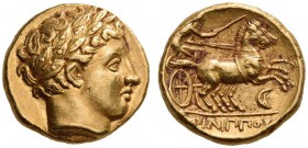 KINGS of MACEDON, Philip II, 359-336 BC. Stater (Gold, 16mm, 8.63 g 1), Amphipolis, c. 340-328. Laureate head of Apollo to right. Rev. ΦΙΛΙΠΠΟΥ Biga g...