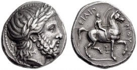 KINGS of MACEDON, Philip II, 359-336 BC. Tetradrachm (Silver, 23mm, 14.50 g 12), Pella, c. 336/5-329/8. Laureate head of Zeus to right. Rev. ΦΙΛΙΠΠΟΥ ...