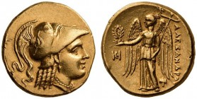 KINGS of MACEDON, Alexander III 'the Great', 336-323 BC. Stater (Gold, 17mm, 8.57 g 1), Miletos, circa 323-319. Head of Athena to right, wearing Corin...