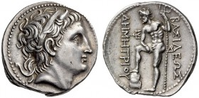 KINGS of MACEDON, Demetrios I Poliorketes, 306-283 BC. Tetradrachm (Silver, 30mm, 17.22 g 12), Amphipolis, c. 290-289 BC. Diademed head of Demetrios t...