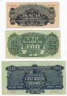 Czechoslovakia 20-100-1000 Korun 1944 Lot of 3 Notes