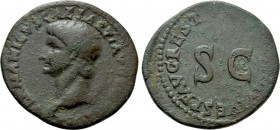GERMANICUS (Died 19). As. Rome. Restitution issue struck under Titus (79-81).