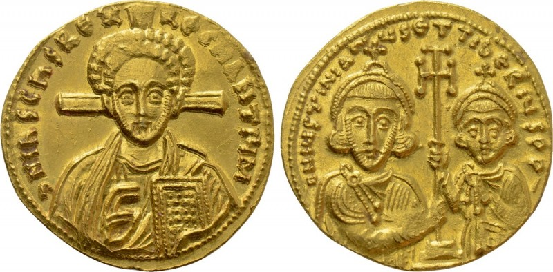JUSTINIAN II with TIBERIUS (Second reign, 705-711). GOLD Solidus. Constantinople...