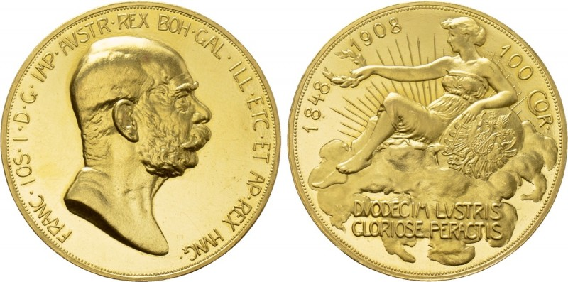 AUSTRIA. Franz Joseph I (1848-1916). GOLD 100 Corona (1908). Commemorating the 6...