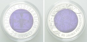 AUSTRIA. Niobium and Silver 25 Euro (2005). 50 Years of television.