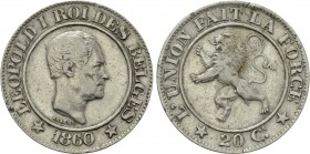 BELGIUM. Leopold I (1831-1865). 20 Centimes (1860). Brussels.