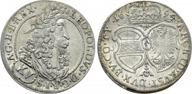 HOLY ROMAN EMPIRE. Leopold I (Emperor, 1658-1705). 15 Kreuzer (1694). Hall.