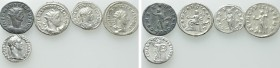 5 Roman Coins; Domitian, Volusian etc.