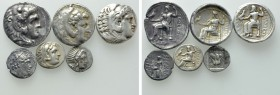 6 Greek Coins; Tetradrachms and Drachms.