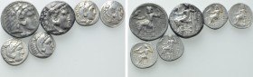 6 Greek Coins; Tetradradrachms and Drachms.