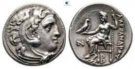 Kings of Macedon. Kolophon. Antigonos I Monophthalmos 320-301 BC. Struck circa 310-301 BC. In the name and types of Alexander III.. Drachm AR