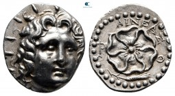 Islands off Caria. Rhodos 88-42 BC. Aineas, magistrate. Drachm AR