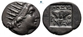 Islands off Caria. Rhodos. ΜΑΗΣ (Maes), magistrate 88-84 BC. Plinthophoric Drachm AR