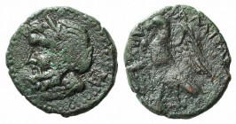 Sicily, Alaisa, 2nd century BC. Æ (21mm, 6.71g, 2h). Laureate head of Zeus l.; B to r. R/ Eagle standing l. with spread wings; tripod to l. CNS I, 2; ...