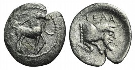 Sicily, Gela, c. 465-450 BC. AR Litra (11mm, 0.54g, 6h). Horse advancing r.; wreath above. R/ Forepart of man-headed bull r. Jenkins, Gela, Group III;...