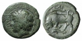 Sicily, Syracuse. Agathokles (317-289 BC). Æ (22mm, 9.36g, 7h), c. 317-310 BC. Wreathed head of Kore l.; torch to r. R/ Bull butting l.; dolphin and A...