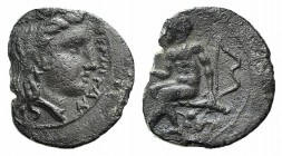 Sicily, Thermai Himerensis, c. 350-330 BC. AR Litra (10mm, 0.53g, 6h). Head of Hera r., wearing polos. R/ Herakles, holding club, seated l. on rock dr...