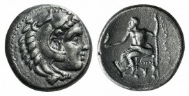 "Kings of Macedon, Alexander III ""the Great"" (336-323 BC). AR Drachm (15mm, 4.25g, 12h). Sardis, c. 334-323 BC. Head of Herakles r., wearing lion's ski..."