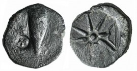 Pontos, Uncertain (Amisos?), c. 130-100 BC. Æ (23mm, 10.35g). Quiver; c/m: helmet within incuse circle. R/ Eight-pointed star; bow to r. SNG BM Black ...