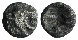 Asia Minor, Uncertain, 5th century BC. AR Tetartemorion (4mm, 0.12g). Head of roaring lion r. R/ Rough incuse square. Unpublished in the standard refe...