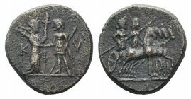 Aeolis, Kyme, 2nd century BC. Æ (15mm, 3.05g, 12h). Artemis, holding long torch, greeting the Amazon Kyme, holding sceptre. R/ Two figures (Apollo and...