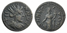 Aeolis, Temnos. Pseudo-autonomous issue, 3rd century AD. Æ (18mm, 3.06g, 6h). Turreted and draped bust of Tyche r. R/ Tyche standing l., holding rudde...