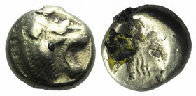 Lesbos, Mytilene, c. 521-478 BC. EL Hekte (9mm, 2.21g, 12h). Head of roaring lion r. R/ Incuse head of calf r., within rectangular punch. Bodenstedt 1...