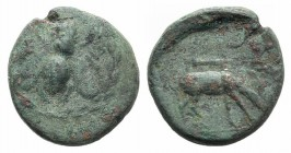 Ionia, Ephesos, c. 280-258 BC. Æ (16mm, 4.12g, 12h). Bee within wreath. R/ Stag grazing r.; quiver above. Cf. SNG Copenhagen 268-9. Green patina, Good...
