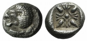 Ionia, Miletos, late 6th-early 5th century BC. AR Diobol (8mm, 1.30g). Forepart of a lion r., head l. R/ Stellate design within square incuse. SNG Kay...