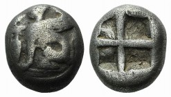 Islands of Ionia, Chios, c. 435-425 BC. AR Third Stater or Tetrobol (9.5mm, 2.54g). Sphinx seated l.; to l., [grape bunch] above amphora. R/ Quadripar...